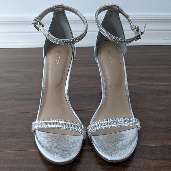 Aldo Silver Heel Sandal with Crystals